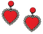 Baby Be Mine Earrings in Red, dangle earrings, swarovski crystal, statement earrings, gift, contemporary jewelry