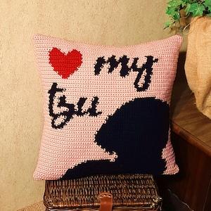 Shih Tzu Pillow crochet pattern Graph Pattern Intarsia Instant Download Dog Heart Pillow Dog Lover Gift