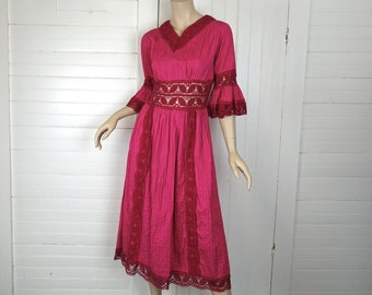60s Peasant Dress-Hippie/ Boho/ Festival- Mexico- 1970s Magenta / Hot Pink- Crochet Lace, Bell Sleeves- 1960s- Valentine's Day