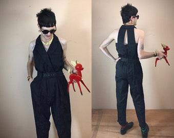 5accf20c4e2e 90s Black Brocade Jumpsuit- Back Cutout- Medium Vintage 1990s