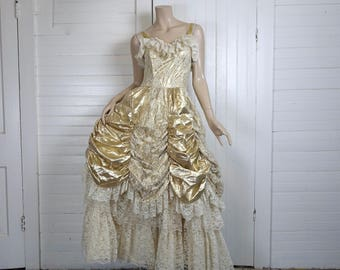 efe14c3af7f 80s Fairy Tale Prom Dress- 1980s Gold Lamé   Ivory Lace- Metallic Punk New  Wave Formal Wedding Dress- Size Small