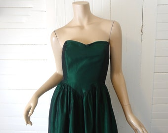 60s Forest Green Strapless Dress- 1960s Prom Dress- Extra Small f07772e67394