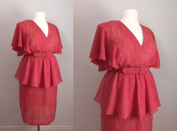 80s Does 30s Red Dress 1980s Plus Size Flutter Sleeves Peplum Etsy