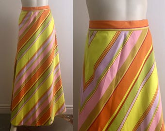 60s 70s Long Diagonal Stripes Skirt 1970s Vintage Cotton High Waist A-line Maxi Skirt in Spring Colors- Pink Gold Yellow Orange- Small