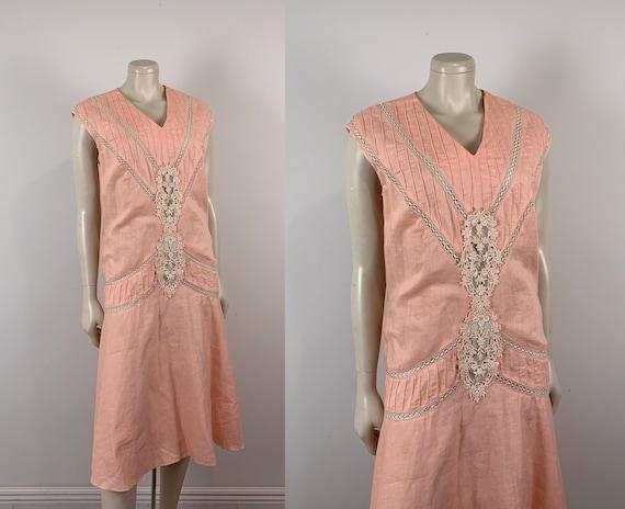 80s does 20s Peach Linen Dress- Flapper Dress- Med