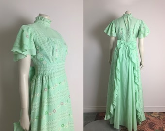 60s Mint Green Prom Dress Vintage 1960s Flocked Floral Prairie Regency Empire Waist High Neck Flutter Sleeves Small Ruffles Bow Formal