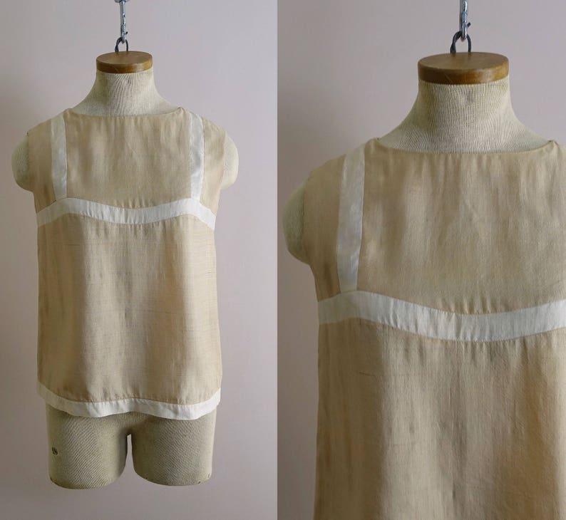 e2118c682a571e 60s Mod Silk Blouse in Khaki   Beige   White 1960s Vintage Go