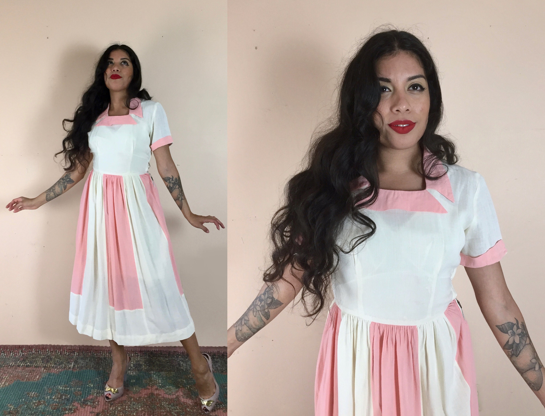 dbcb6dde58f 40s Waitress Dress Pink   White 1940s Vintage Uniform Style