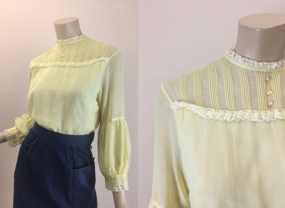 60s 70s Victorian Blouse in Light Yellow- High Nec