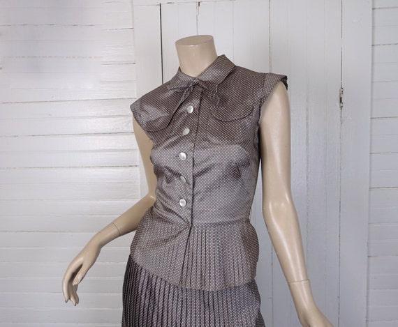 40s Pleated Suit in Taupe Dots- Skirt & Top- Extra