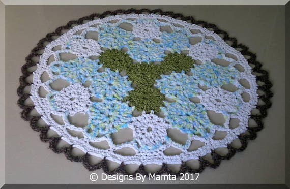 Crochet Doily Rug Pattern Earth Mandala Chunky Crochet Floor Etsy