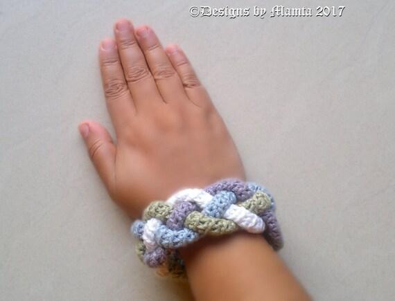 Four Braided Crochet Cuff Bracelet Pattern Easy Crochet Jewelry