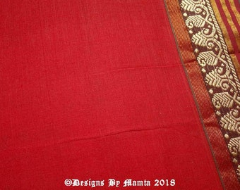 Border Print Fabric, Blood Red Cotton Saree Fabric, Ethnic Print Fabric, Hand Woven Fabric, Madras Cotton Saree, Cotton Ilkal Sari Fabric,