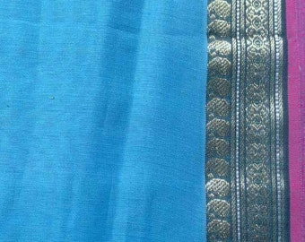 Blue Ilkal Sari Fabric, Indian Cotton Polyester Fabric By The Yard, Designer Handloom Saree, Border Print Cotton Fabric,Indian Ethnic Fabric