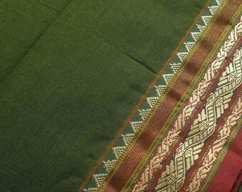 Indian Cotton Sari Fabric, Green Ilkal Saree, Embroidered Saree Fabric By The Yard, Handloom Fabrics, Indian Fabrics, Unique Ethnic Fabric