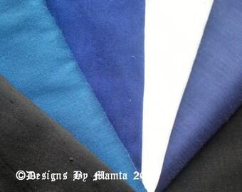 5 Art Silk Dupioni Fabric Fat Quarters, Indian Silk Fabric Fat Quarter, Silk Fabric, Blue Art Silk Fabric, Fat Quarter Bundle Blue, Duppioni