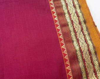 Magenta Gold Cotton Saree Fabric, Woven Border Cotton Fabric, Indian Cotton Fabric,Indian Print Fabric,Sari Fabric By The Yard,Indian Cotton