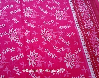 Pink Floral Sheer Cotton Saree Fabric, Indian Fabric By The Yard, Indian Cotton Fabric, Sari Curtain Fabric, Cotton Sari Fabric, Cotton Sari