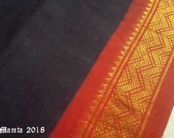 Black Saree Fabric By The Yard, Indian Cotton Fabric, Indian Fabrics, Sari Fabric, Border Print Fabric, Handloom Fabric, Ethnic Ilkal Fabric