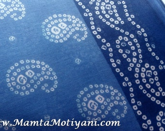 Tie Dye Cotton Saree Fabric By Yard, Blue Sheer Fabric, Bandhej Sari Fabric, Indian Bandhani Fabric, Paisley Print Fabric, Cotton Fabric