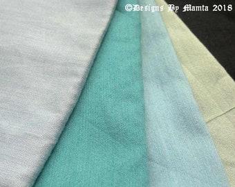 4 Dupioni Art Silk Fabric Fat Quarter Bundle, Turquoise Silk Fabric, Art Silk Fabric, Bundle Of Four, Destash Silk Fabric, Bundle Of Blue
