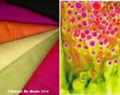 Abstract Garden Art Silk Fabric, Fat Quarter Fabric Bundle, Dupioni Silk, Fabric Bundle, Fabric Set, Bright Dupioni Silk, Summer Silk Fabric