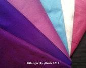 Shades Of Purple Art Silk Fat Quarters, Dupioni Silk Fabric, Purple Silk Fabric, Pink Silk Fabric, Sky Blue Silk Fabric, White Silk Fabric