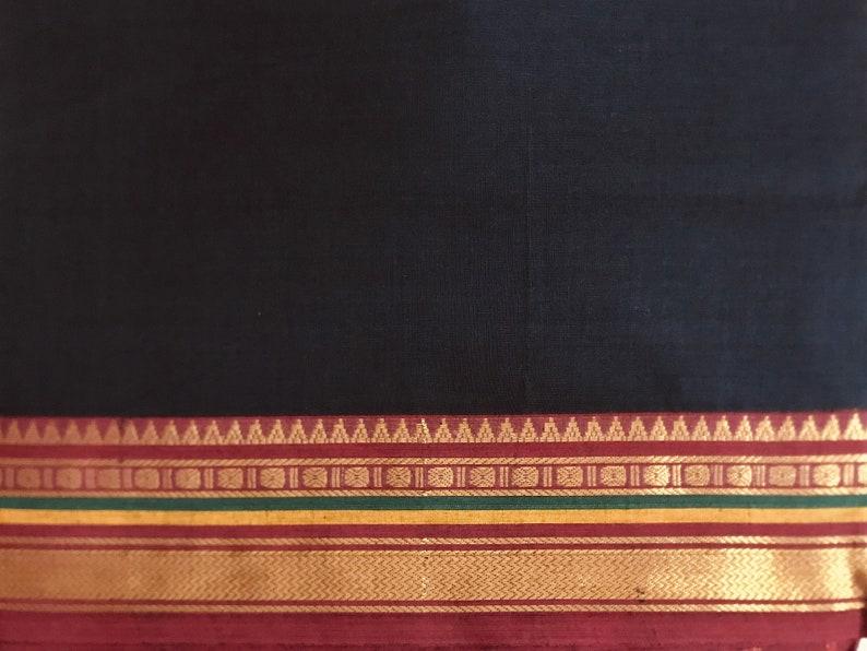 Black Sari Fabric Ethnic Fabric Handloom Saree Fabric India image 0