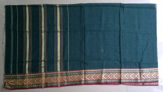 Un morceau de Sari tissu Sari de vert turquoise, tissu de coton Shot, ... 0fc416a3189