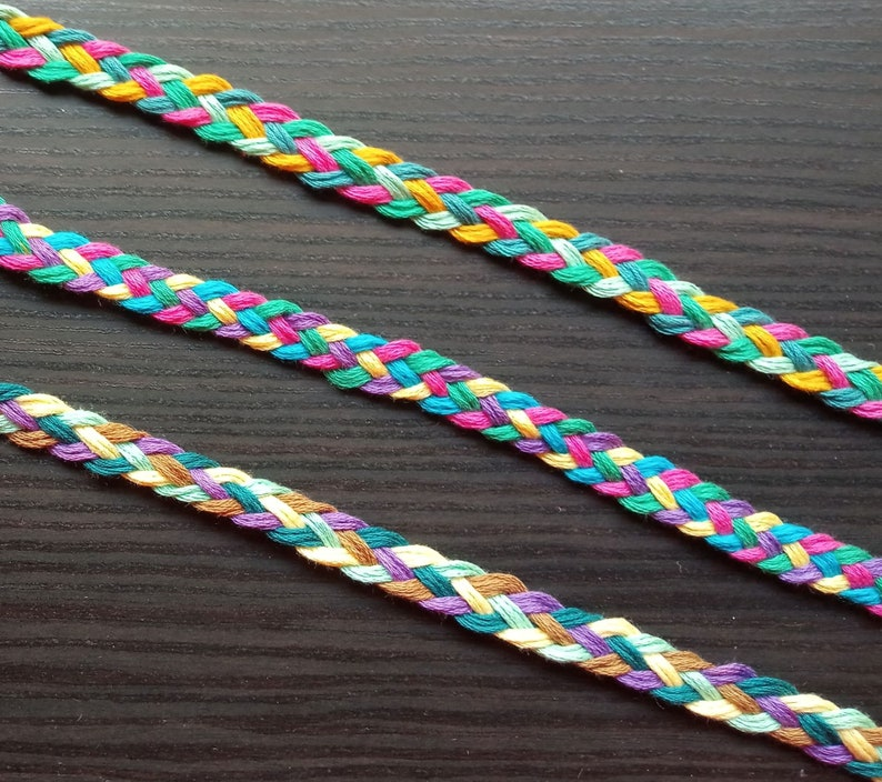 12mm Cord, Multicolored Flat Braided Cord, Cotton Cord, Cotton Braid, Flat  Braided Cord, Colorful Braid, Braid Headband, Braided Cord,String