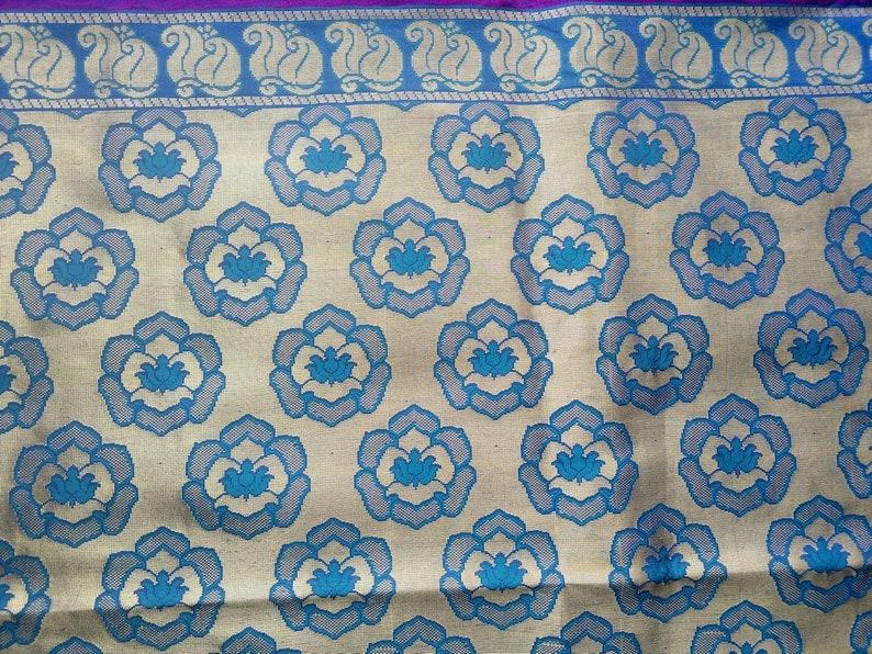 553eb234d Brocade Fabric Lotus Paisley Fabric Indian Brocade Saree | Etsy