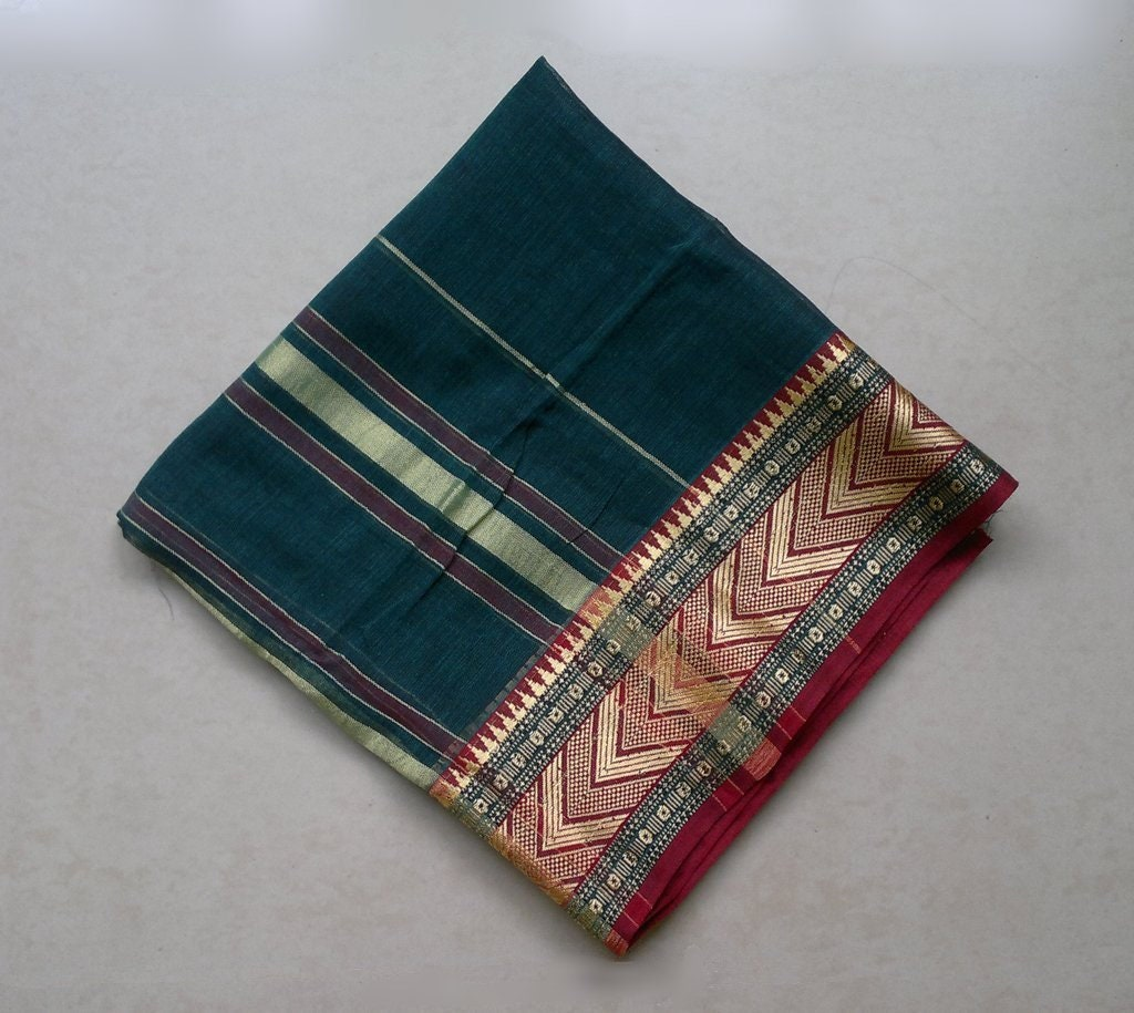 bcbda390e238 Un morceau de Sari tissu Sari de vert turquoise, tissu de coton Shot, Saree