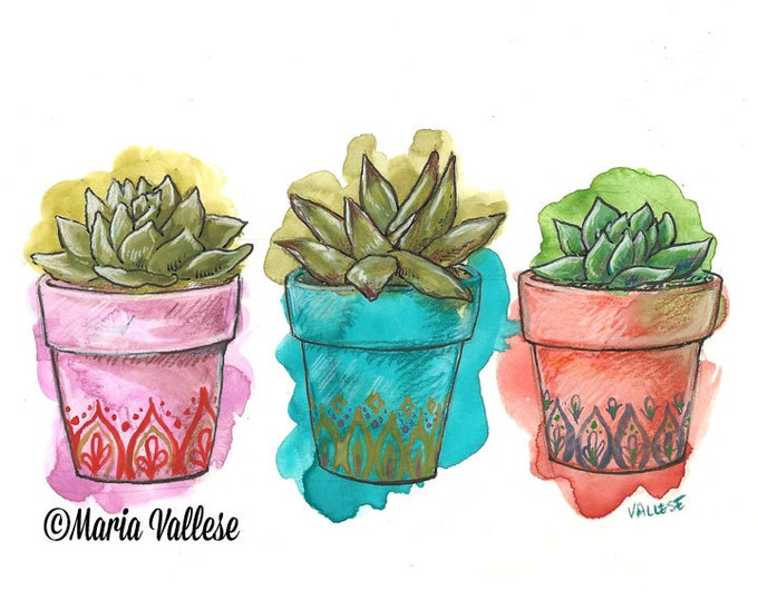 Featured listing image: Boho Succulents Art Print, Plant Illustration, Cacti, Gypsy Decor, Bohemian Home, Watercolor Painting, Homeowner gift, housewarming gift