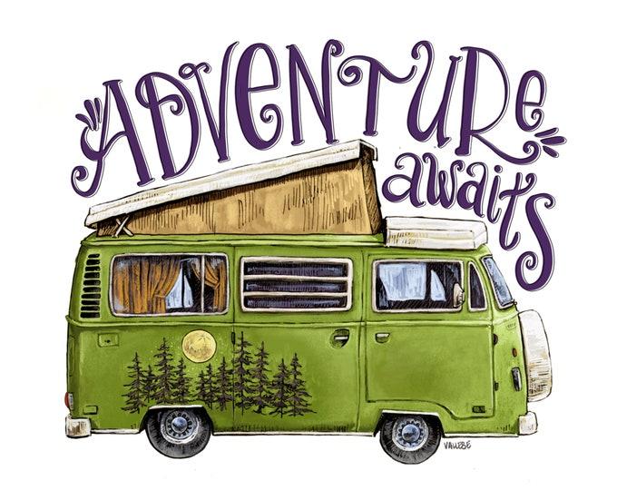 Featured listing image: Adventure Awaits Westfalia Art, Green Vintage Camper Van, Dorm Decor, Camping, Pine Trees Westy, Volkswagen, VW, Freedom, Wanderlust,