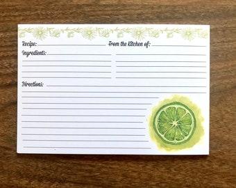 Lime Recipe Cards, Limes, Citrus, Citrus recipe cards, Vintage Kitchen, Vintage Recipe Cards, Recipe Cards, Retro Sorrento, 4x6 Recipe Cards
