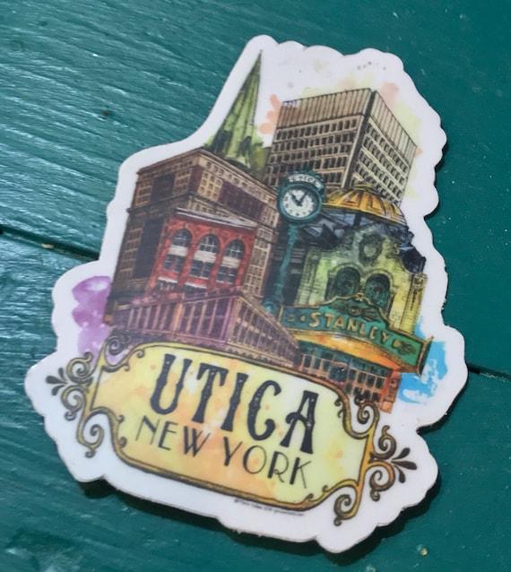 CIty Sticker Upstate NY Building Illustration Vinyl Decal Utica New York Skyline Sticker