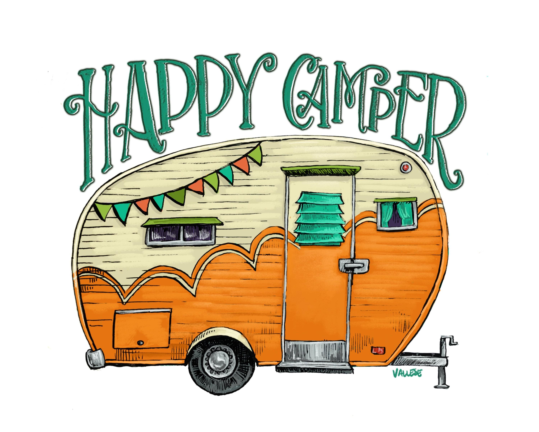 Happy Camper Orange Trailer Art Print, Retro Caravan ...