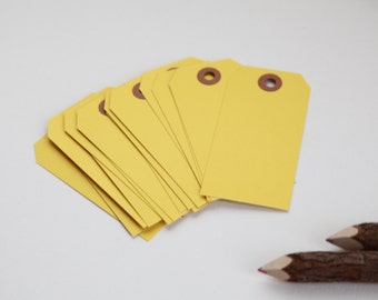 25 - YELLOW - MEDIUM Gift Tags, 3-3/4 x 1-7/8, Packing Tags, Shipping Tags, Holiday Tags, Favor Tags