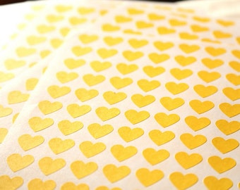 108 Yellow Heart Stickers - FREE SHIPPING with other purchase