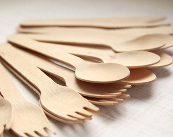 Party Set (75) Eco-Friendly Wooden Utensils SPOONS, FORKS, KNIVES  (25 each) - Handmade Wedding // Birthday // Holiday // Craft Party