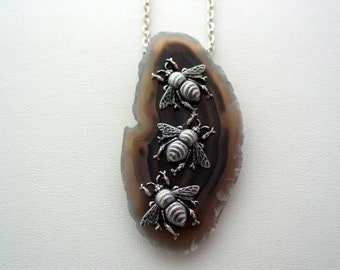 Natural Polished Agate Geode Entomology Nature Jewelry Agate Necklace Purple Agate Geode Beetle Necklace Beetle Pendant