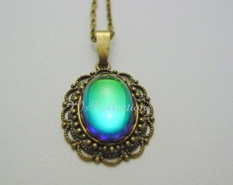 Bermuda Blue Antique Bronze Necklace Colors of the Rainbow Necklace