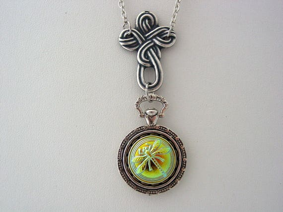 Celtic Cross Dragonfly Necklace Iridescent Vitrail Glass Etsy