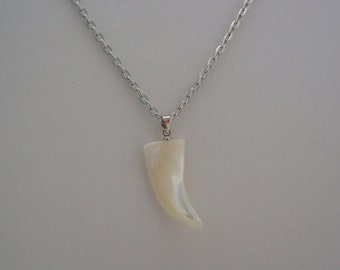 Mother of Pearl Wolf Tooth Antique Silver Necklace Spiritual Spirit Animal Wolf Tooth Necklace