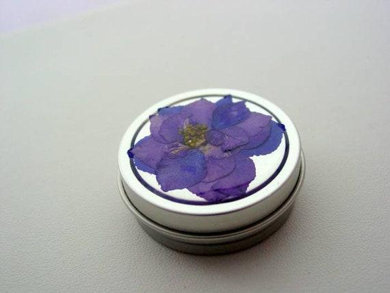 2df Pocket Purse Pill Box Nug Jar Pink Larkspur Real Dried Pressed Flower Resin Coated Tin LPK2