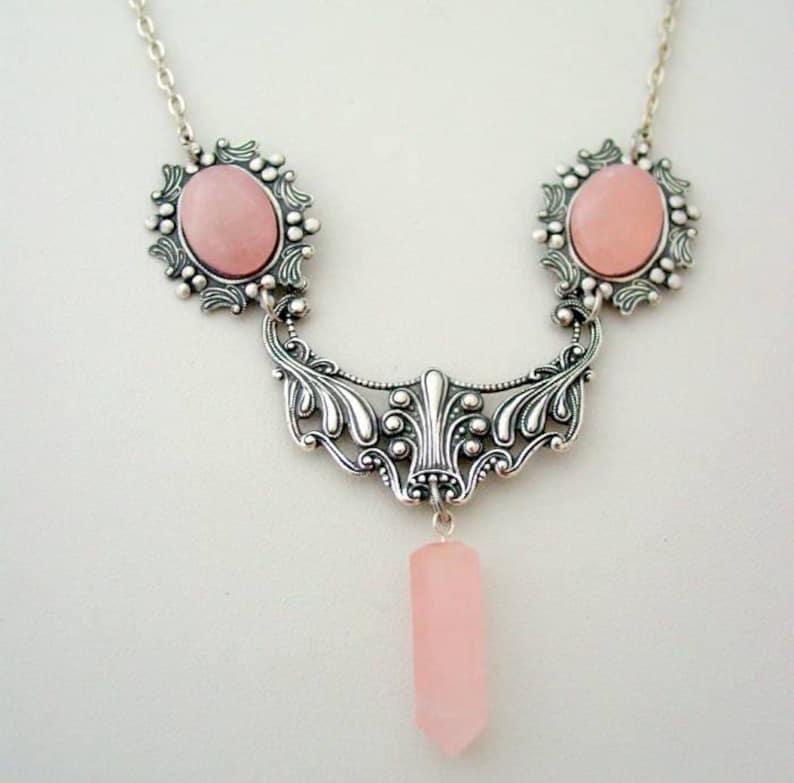 Art Nouveau Rose Quartz Crystal Necklace Crystal Point Drop Floral Necklace Lavalier Crystal Point Drop Pendant