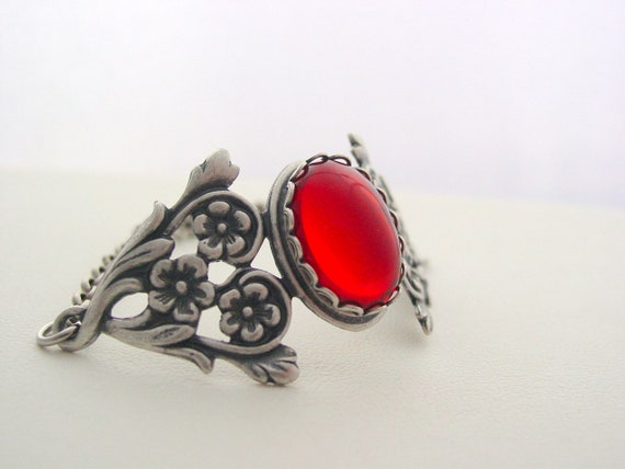 RED German Silver Oxidized Antique Bracelet with Stones