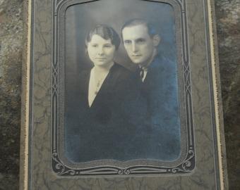 Fabulous parlor photo of young couple - circa 1930's