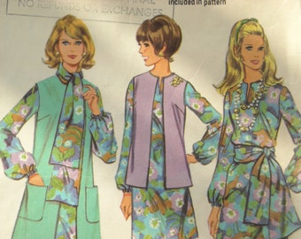 """1969 McCall's """" Step - by - step"""" pattern for dress & sleeveless coat"""