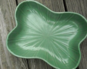 Vintage Regal Pottery celadon-colored bone-shaped ceramic dish